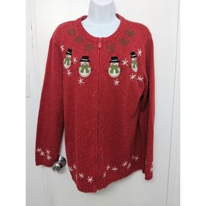 Vintage Christmas sweater zip up size large